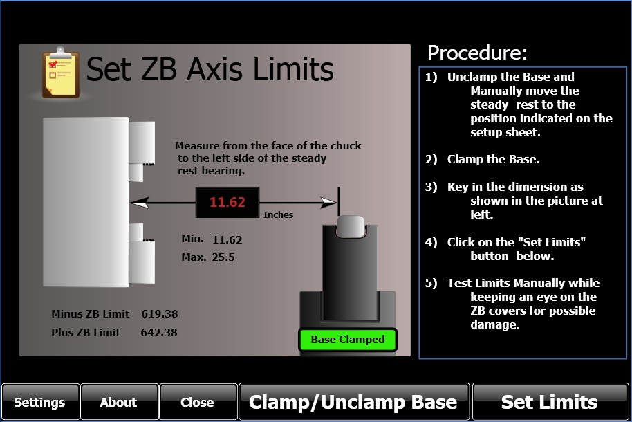 Auto Set ZB Variable Limits and Steady Rest Base Clamp